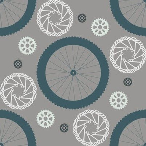 Bike parts polka dots--blackend teal and gray