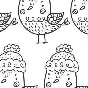 Wintervogel 1 schwarz-weiß
