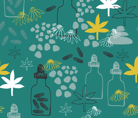 Abstract Medicinal Plants And Flowers fabric by maredesigns on Spoonflower - custom fabric