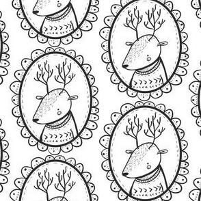 Hirsch Medaillon schwarz weiß