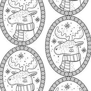 Elch Medaillon schwarz weiß