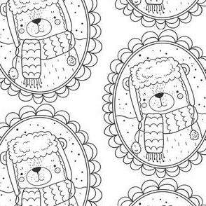 Bär Medaillon schwarz weiß