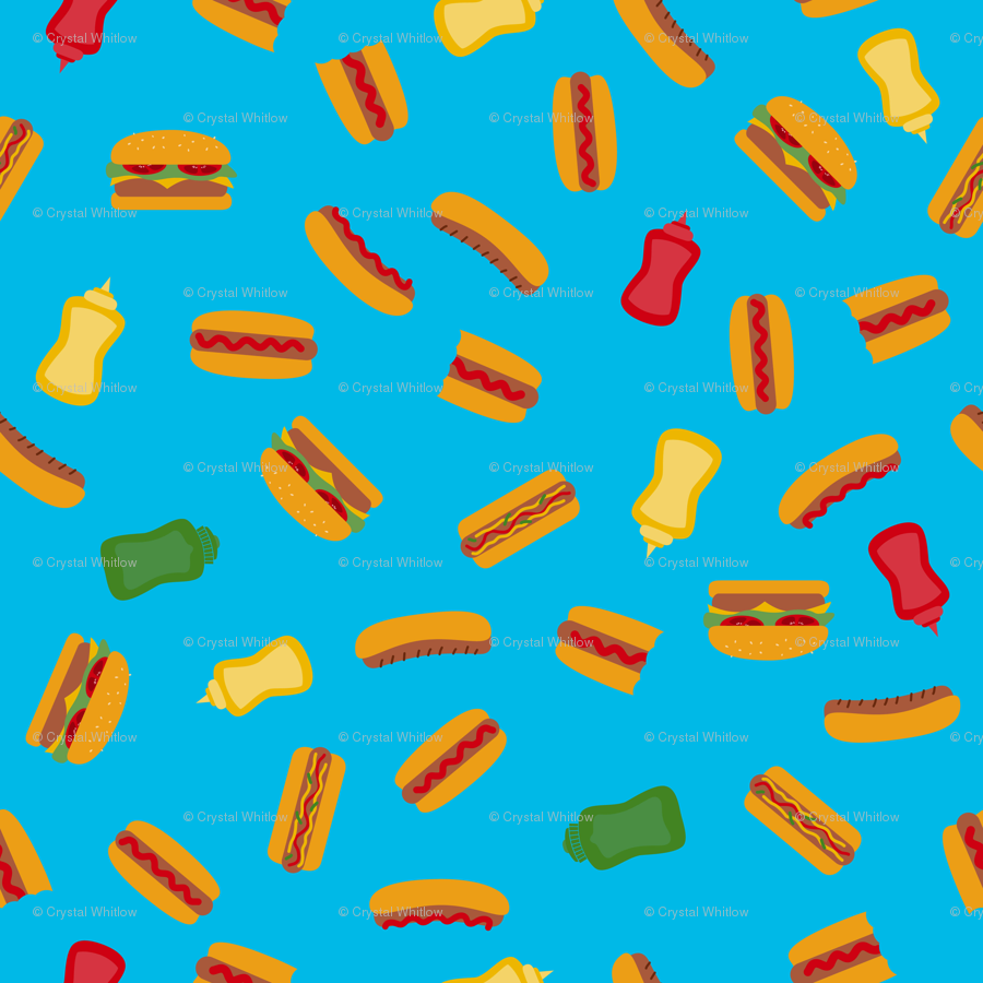 Hot Dog Picnic wallpaper - crystal_whitlow - Spoonflower