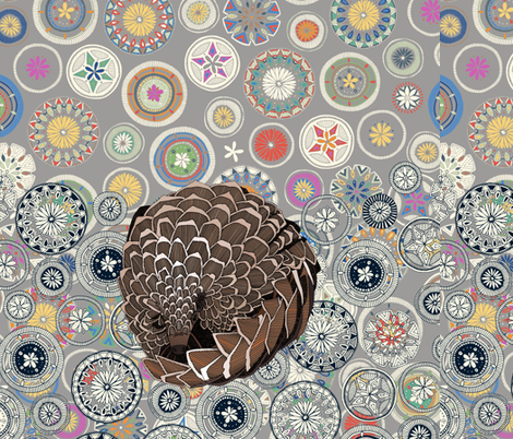 pangolin mandala 18 inch pillow front fabric by scrummy on Spoonflower - custom fabric