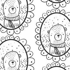 kleiner Bär Medaillon schwarz weiß