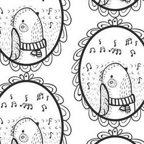 Vögelchen Medaillon schwarz weiß