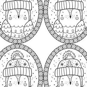 Vogel Mütze Medaillon schwarz weiß