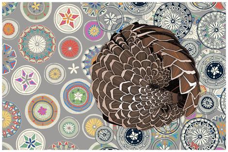 pangolin mandala tea towel fabric by scrummy on Spoonflower - custom fabric