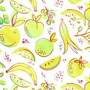 Watercolor Neon Fruit Toss