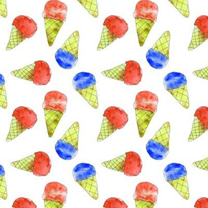 Watercolor ice cream cones in blue and red