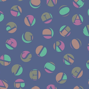 ditsy alphabet dots, jazz colors