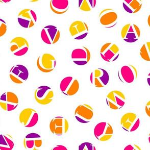 ditsy alphabet dots, karmic colors