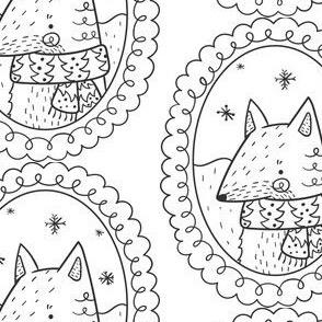 Fuchs Medaillon schwarz weiss