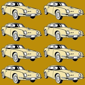 1963 Studebaker Avanti in cream on tan background