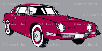 1963 Studebaker Avanti in red on gray background-ch