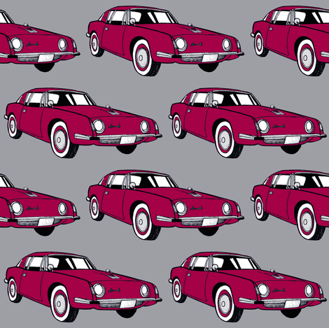 1963 Studebaker Avanti in red on gray background-ch fabric by edsel2084 on Spoonflower - custom fabric