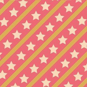 Sterne pink beere Streifen gold