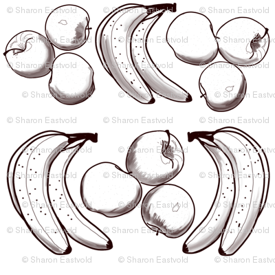 Apples & Bananas for B&W Coloring