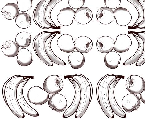 Apples & Bananas for B&W Coloring fabric by dulciart,llc on Spoonflower - custom fabric