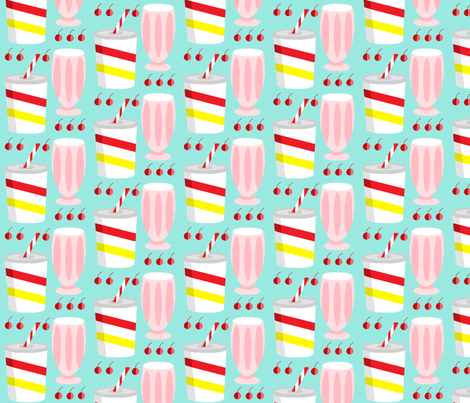 1950s milkshake madness fabric by the_kitten_is_in on Spoonflower - custom fabric