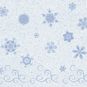 Snowflakes and Swirls on White