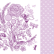 Insect Garden Baby Blanket - lilac