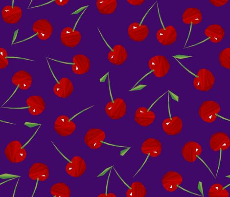 Cherries Cherries on Purple fabric by artsytoocreations on Spoonflower - custom fabric