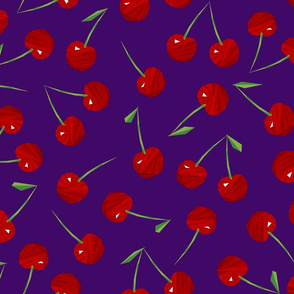 Cherries Cherries on Purple