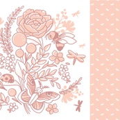 Insect Garden Baby Blanket - Peach