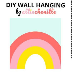 Pink pastel rainbow DIY wall hanging cut and sew project