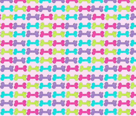 All Chunk's bones on raspberry! fabric by debra_may_himes,_asid on Spoonflower - custom fabric