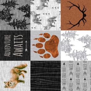 Gender Neutral - Adventure Awaits Fox Quilt - Rust Black And Grey - ROTATED