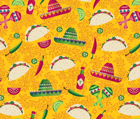 Day of the Taco - yellow fabric by diseminger on Spoonflower - custom fabric