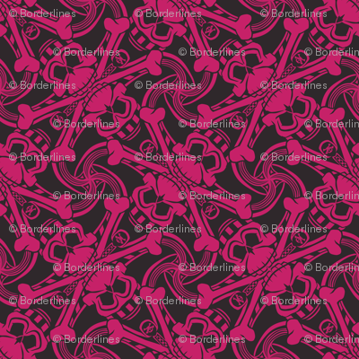 ★ PIRATE SKULL PLAID ★ Black and Hot Pink - Medium Scale / Collection : Funky Pirates - Skull and Crossbones Prints 2