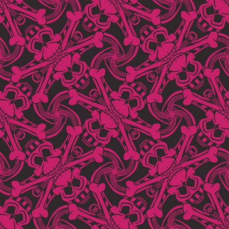★ PIRATE SKULL PLAID ★ Black and Hot Pink - Medium Scale / Collection : Funky Pirates - Skull and Crossbones Prints 2 fabric by borderlines on Spoonflower - custom fabric