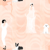 Ziegfeld Girls in Pearls with Dogs