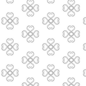 Baroque Rococo Inspired Gray Scroll Flower