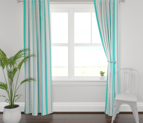 Mint and Teal Blue Striped Stripe