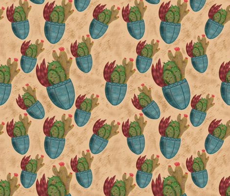 Potted Cacti fabric by lavendermintgraphics on Spoonflower - custom fabric