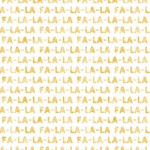 (small scale) FA-LA-LA-LA-LA - gold - holiday fabric