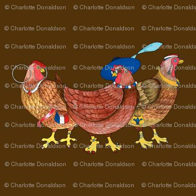 BI_3402 B_Three French Hens on Brown