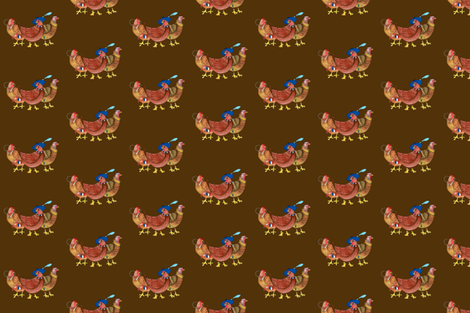 BI_3402 B_Three French Hens on Brown fabric by zarrika_fabrics on Spoonflower - custom fabric