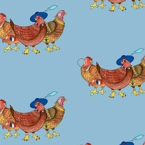 BI_3400_Lt Blue_Three French Hens on Light Blue