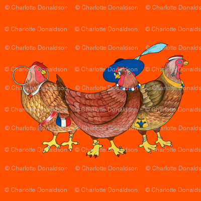 BI_3400_R_Three French Hens On Red