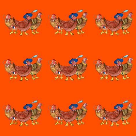 BI_3400_R_Three French Hens On Red fabric by charlotte_donaldson_fabrics on Spoonflower - custom fabric