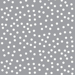 Twinkling Icy Cream Dots on Mystic Grey - Large Scale