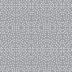 Dotty Eyelet Lace of Icy Cream on Mystic Grey - Small Scale