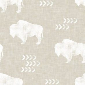 distressed buffalo on tan linen