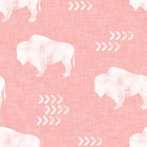 distressed buffalo on dark pink linen