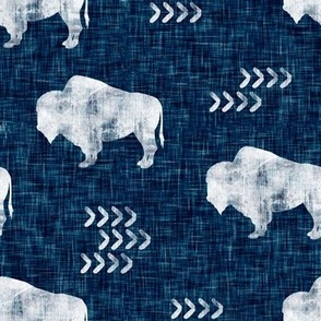 distressed buffalo on dark blue  linen